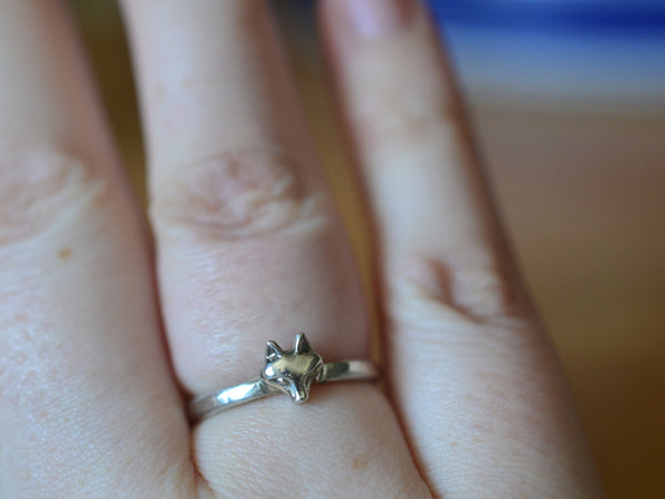 Handmade Fox Charm Ring in Sterling Silver