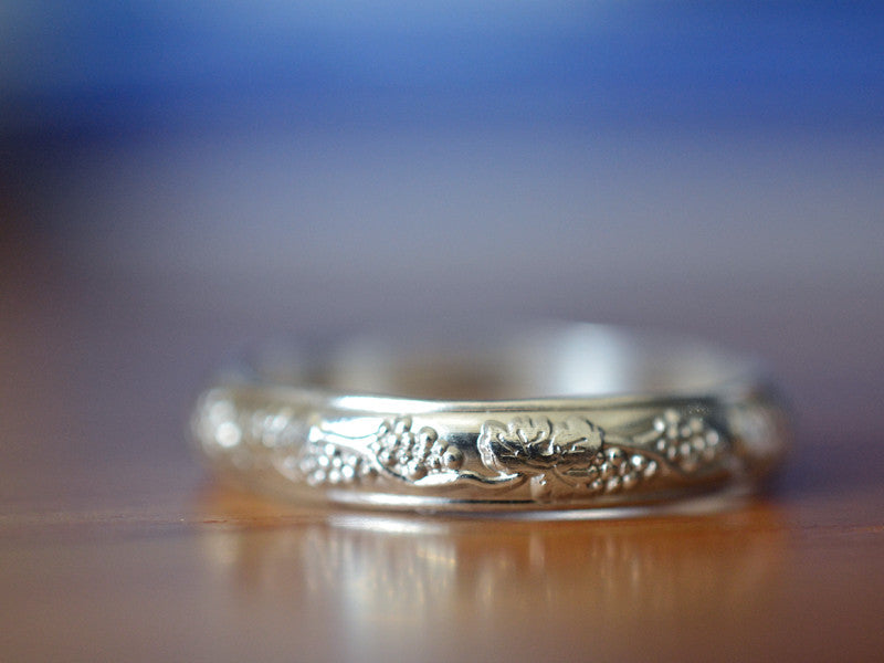 Handmade Sterling Silver Grapevine Wedding Band