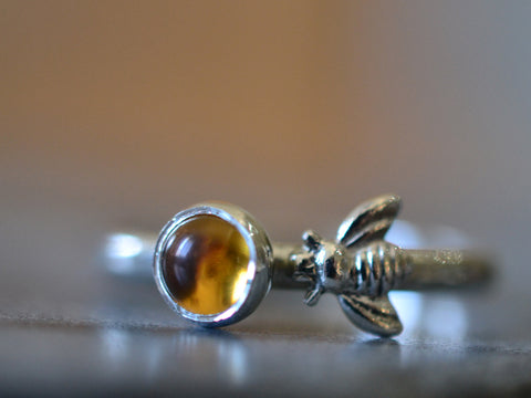 Sterling Silver Honey Bee & Citrine Ring
