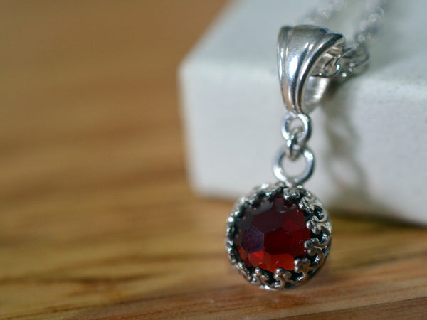 Handmade Sterling Silver Honeycomb Red Garnet Necklace