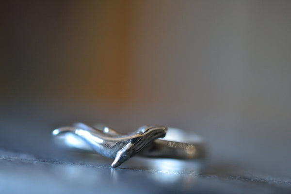 Engravable Sterling Silver Humpback Whale Ring