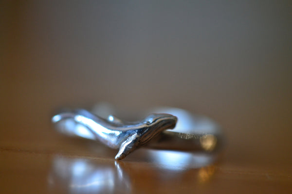 Sterling Silver Humpback Whale Charm Ring