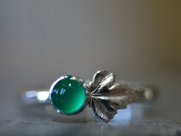 Sterling Silver Leaf & Lab Emerald Ring