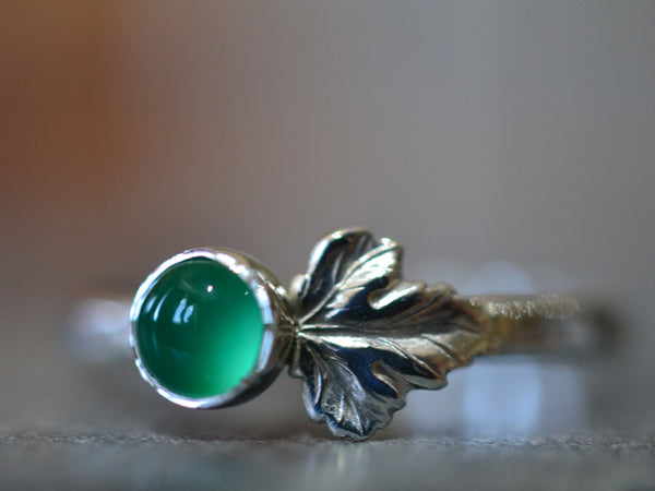 Sterling Silver Leaf & Emerald Berry Ring