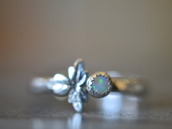 Sterling Silver Leaf & White Opal Ring