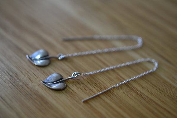Dainty Sterling Silver Cable Chain Ear Threaders With Leaf Charms