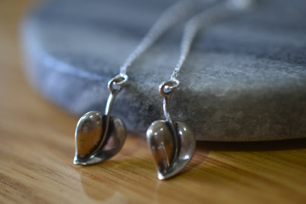 Dainty Sterling Silver Leaf Threader Earrings With Cable Chain