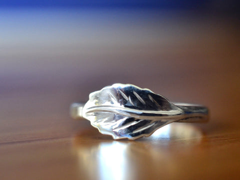 Handmade Sterling Silver Leaf Charm Ring