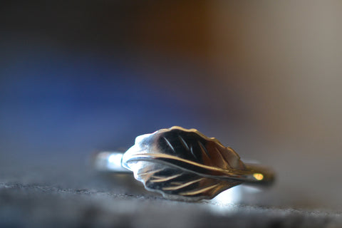 Dainty Sterling Silver Leaf Charm Ring