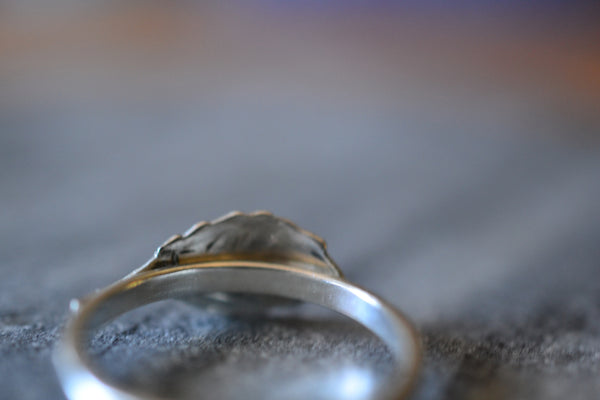 2mm Wide Hammered Band Ring With Sterling Silver Leaf