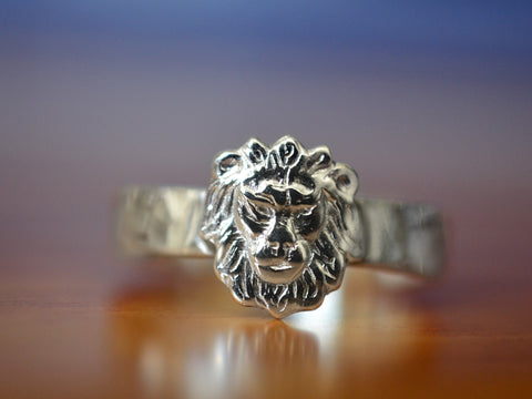 Handmade Personalised Sterling Silver Lion Ring
