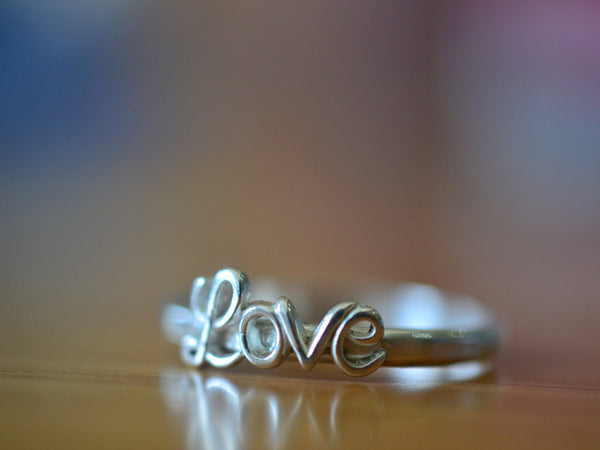 Personalised Sterling Silver Love Charm Ring