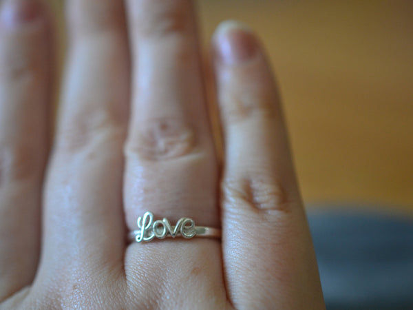 Sterling Silver Cursive Script Love Ring