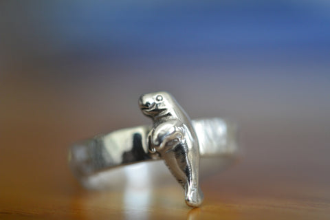 Custom Engraved Sterling Silver Manatee Ring