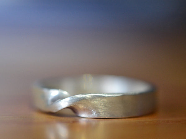 Handmade Sterling Silver Mobius Wedding Band for Men