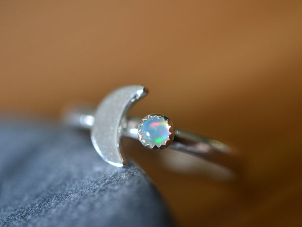 Sterling Silver Crescent Moon Charm & 3mm Opal Ring
