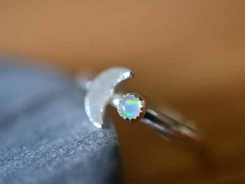 Sterling Silver Crescent Moon & Welo Opal Ring