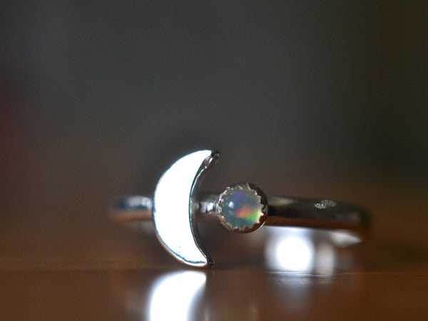 Sterling Silver Moon & Tiny Opal Ring