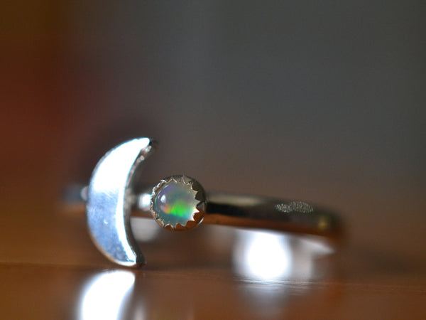 Witchy Silver Crescent Moon & Tiny Opal Ring