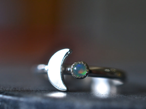 Tiny Welo Opal & Sterling Silver Moon Ring