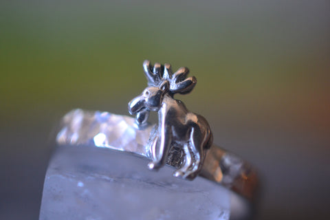 Sterling Silver Moose Ring