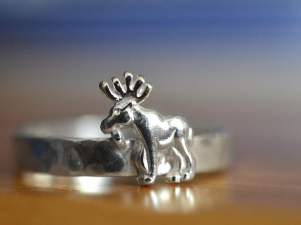 Handmade Personalised Sterling Silver Moose Ring