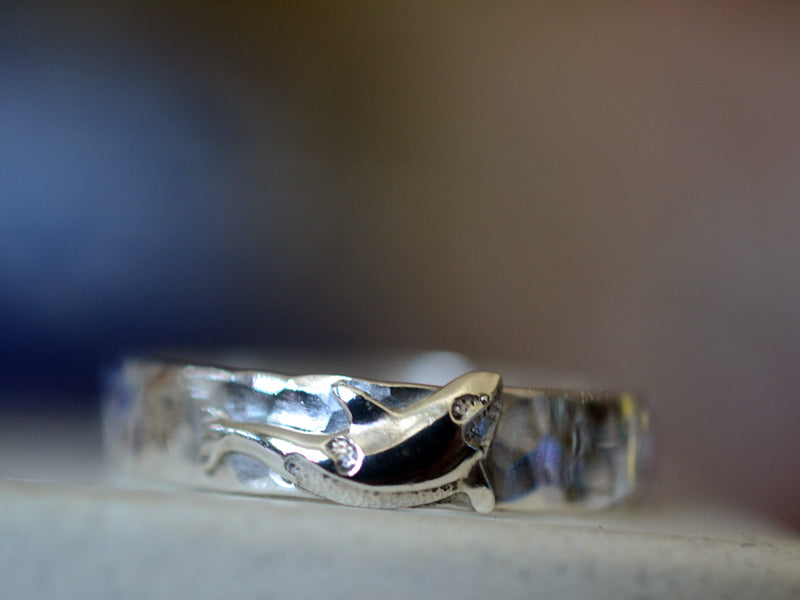 Sterling Silver Orca Charm Wedding Band