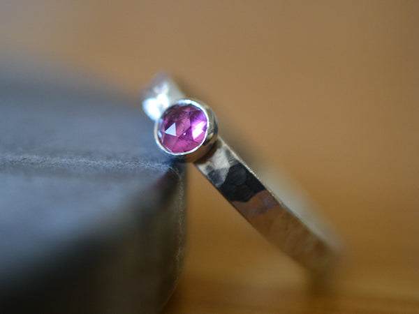 Simple Sterling Silver & 5mm Pink Tourmaline Promise Ring