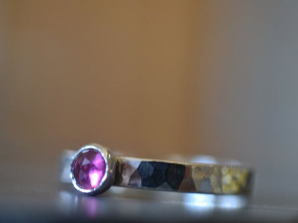 Customised Sterling Silver & Pink Tourmaline Ring