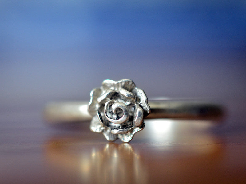 Handmade Sterling Silver Rose Charm Ring with Engraving