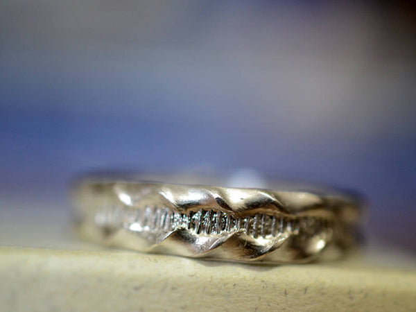 Handmade Sterling Silver Ruffle Texture Wedding Band