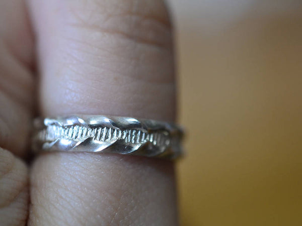 Customised Sterling Silver Ruffle Pattern Wedding Ring for Men