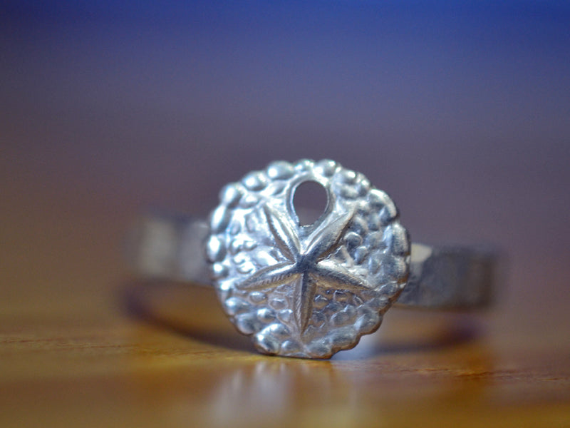 Handmade Sterling Silver Sand Dollar Ring with 3mm Band
