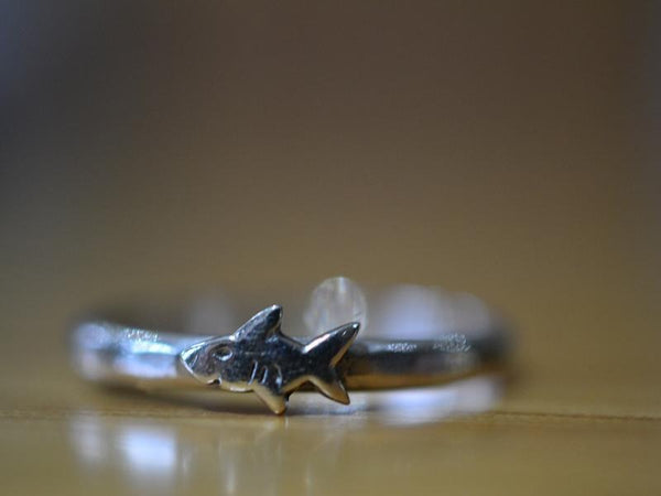 Tiny Sterling Silver Shark Ring