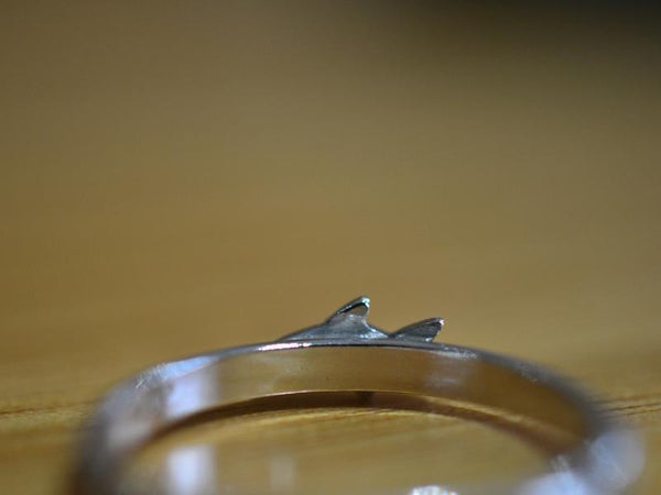 Sterling Silver Shark Charm Ring