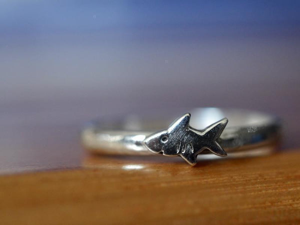 Handmade Sterling Silver Tiny Shark Ring