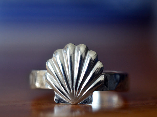 Handmade Sterling Silver Shell Ring with Engraving