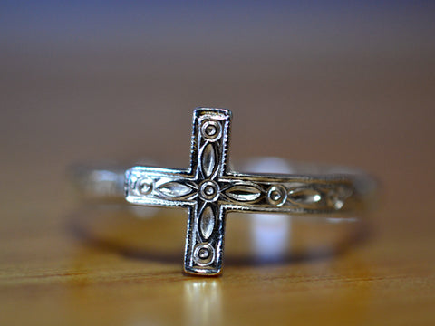 Handmade Sideways Sterling Silver Cross Ring