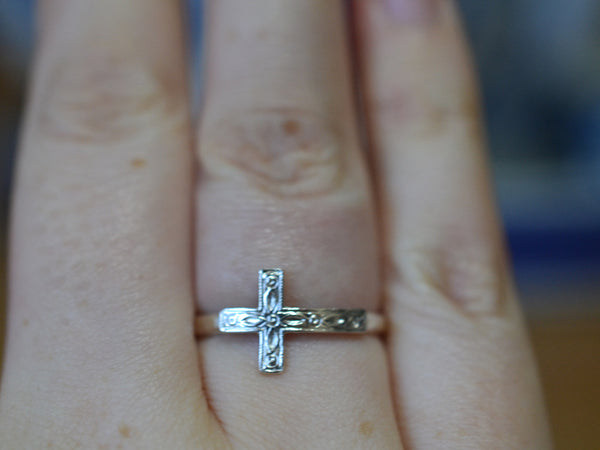 Handforged Sterling Silver Sideways Cross Ring