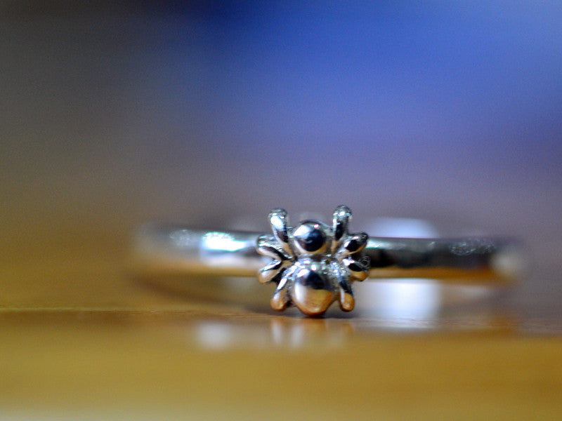 Handmade Sterling Silver Tiny Spider Ring
