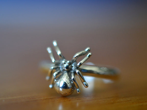 Sterling Silver Spider Ring with Engraving