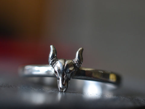 Sterling Silver Steer Skull Ring