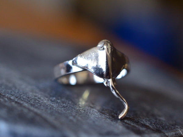 Personalised Sterling Silver Stingray Ring