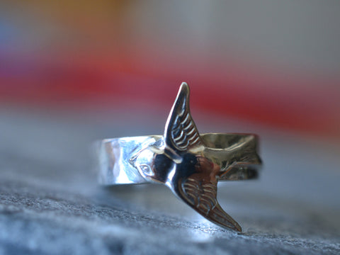 Sterling Silver Swallow Ring With Wide Band