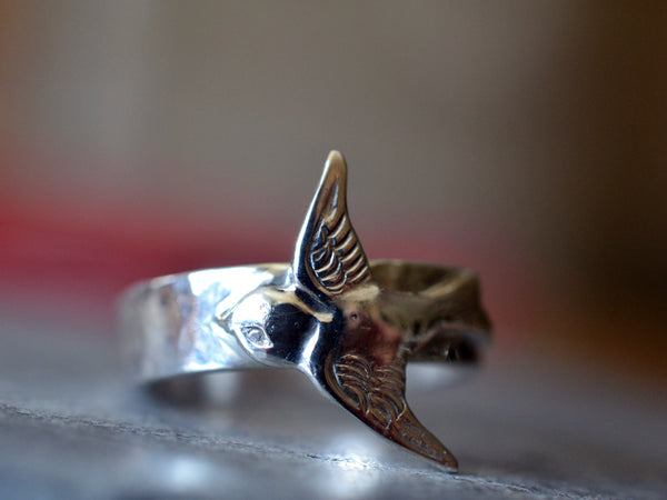 Personalised Hammered Sterling Band With Silver Swallow Charm