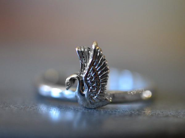 Sterling Silver Swan Charm Ring