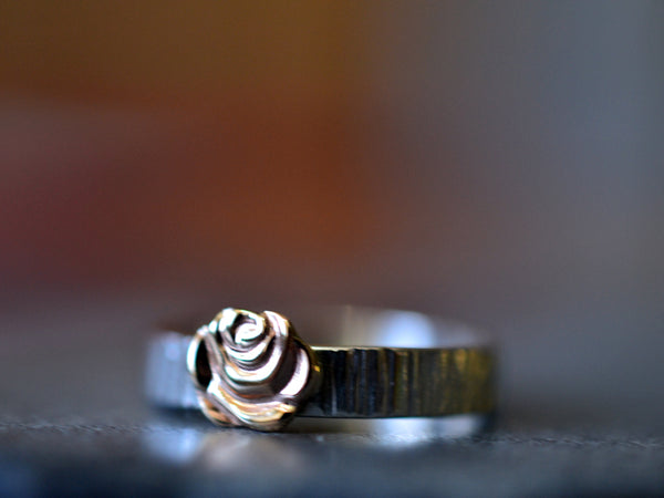 Rustic Sterling Silver Tree Bark Wedding Band with 14K Gold Rose
