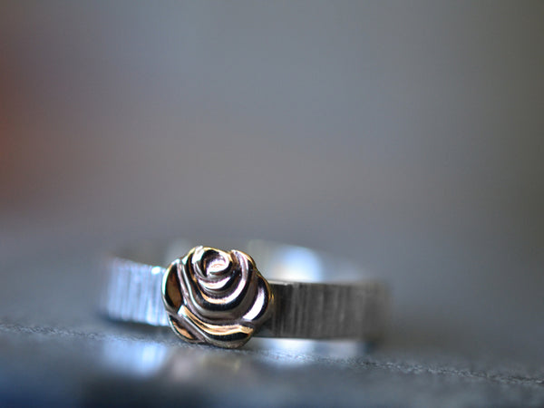 Boho Sterling Silver Tree Bark Wedding Band with 14K Gold Rose