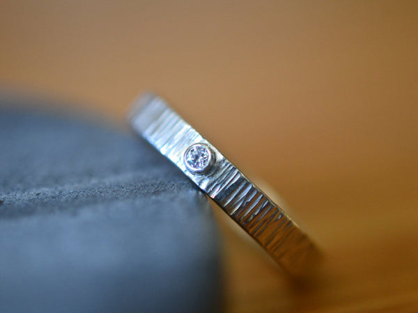 Inset Diamond Wedding Band in Sterling Silver