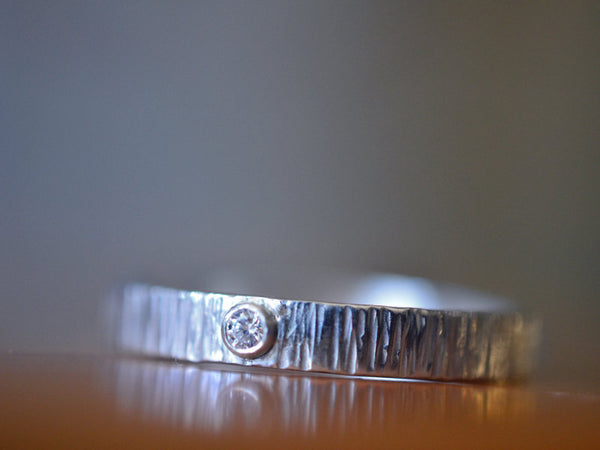 Engraved Diamond Wedding Band in Sterling Silver